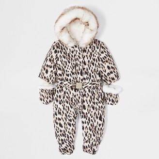 River Island Baby Brown leopard print snowsuit