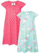 John Lewis Children's Bird Print Nightdress, Pack of 2, Coral/Aqua