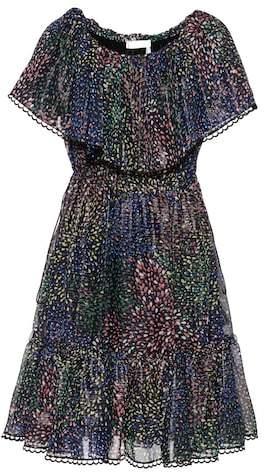 Chloé Printed cotton and silk-blend crepon dress