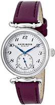 Akribos XXIV Women's AK704WT Impeccable Swiss Quartz Gold-tone Stainless Steel White Leather Strap Watch
