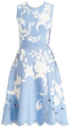 Carolina Herrera Floral Cutout Midi Dress