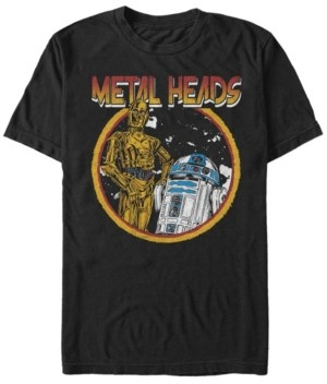 Star Wars Men's Classic R2-D2 And C-3Po Metal Heads Short Sleeve T-Shirt