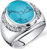 Ice Men's Simulated Turquoise Sterling Silver Godfather Fashion Ring