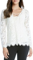 Karen Kane Lace-Up Lace Top