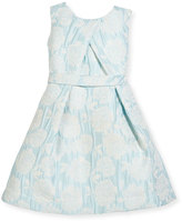 Helena Floral Jacquard Cross-Pleated Dress, Size 7-14