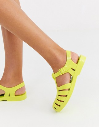Melissa neon flat jelly shoes in green