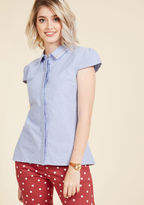 ModCloth An Intellect Abroad Button-Up Top in 14 (UK)