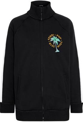 Fendi Embellished Printed Cotton-fleece Track Jacket