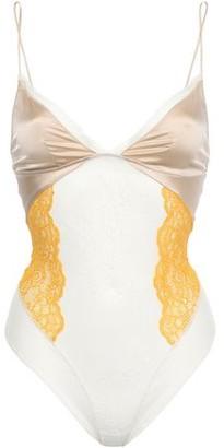 Kiki de Montparnasse Joie Satin-paneled Stretch-lace Thong Bodysuit