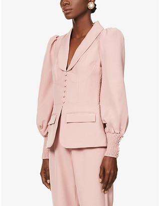 Lavish Alice Puffed-sleeve stretch-crepe jacket