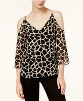 Bar III Cold-Shoulder Giraffe-Print Top, Only at Macy's