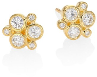 Temple St. Clair Classic Trio Diamond & 18K Yellow Gold Stud Earrings
