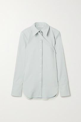Peter Do Buckled Stretch-crepe Shirt - Sky blue