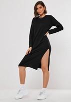 Missguided Black Basic Long Sleeve Midi T Shirt Dress