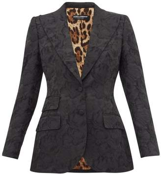 Dolce & Gabbana Single-breasted Rose-jacquard Fitted Blazer - Womens - Black