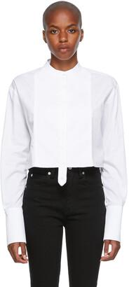 Victoria Victoria Beckham White Cropped Raw Edge Shirt