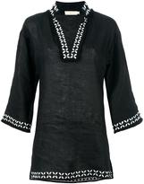 Tory Burch split neck tunic top