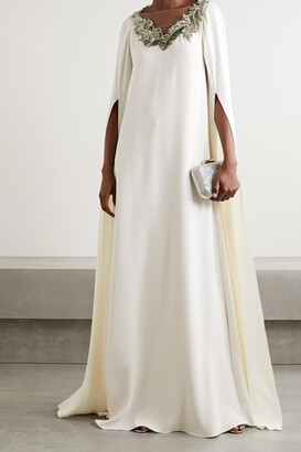 OSCAR DE LA RENTA - Cape-effect Appliqued Tulle-trimmed Silk-blend Gown - Ivory