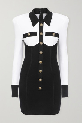 Balmain Button-embellished Two-tone Stretch-knit Mini Dress - Black