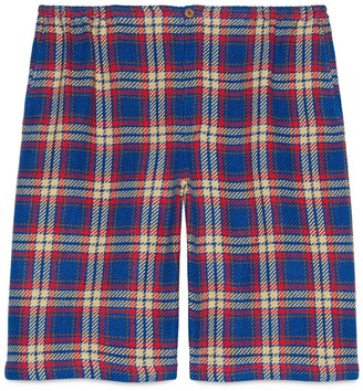 Gucci Check cotton linen shorts with anchor