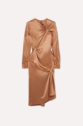 Versace Embellished Draped Silk-satin Midi Dress - Brown