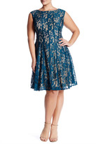 Taylor Pleated Lace Fit & Flare Dress (Plus Size)