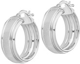 Italian Silver Satin Round Hoop Earrings