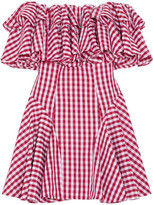 House of Holland Off-the-shoulder Ruffled Gingham Poplin Mini Dress - Red