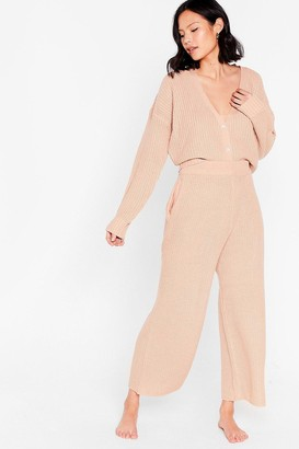 Nasty Gal Womens Let Knit Snow Cardigan and Wide-Leg Pant Set - Pink - S