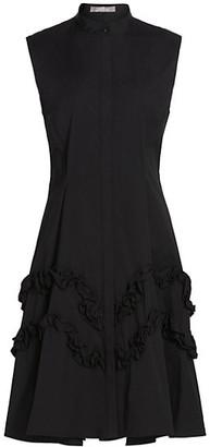 Lela Rose Ruffle-Trimmed Poplin Shirtdress