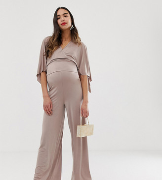 Blume Maternity wide leg jersey pant in mauve co-ord