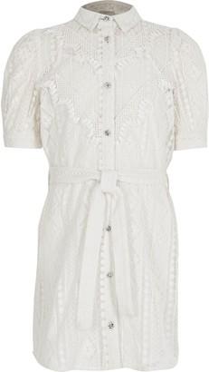 River Island Girls White borderie tie belted shirt dress