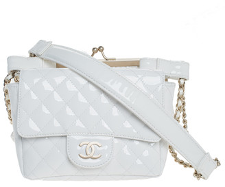 Chanel White Patent Leather and Lace Mini Kiss Lock Double Sided Bag