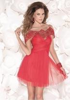 Tarik Ediz Off Shoulder Short Dress 90407