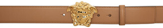 Versace Beige & Gold 'La Medusa' Belt