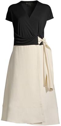 Donna Karan Two-Tone Wrap Dress