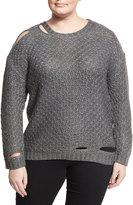 Zero Degrees Celsius Plus Deconstructed Diamond-Knit Sweater, Gray, Plus Size