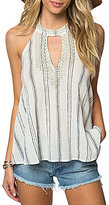 O'Neill Lafayette Stripe Embroidered Halter Neck Top
