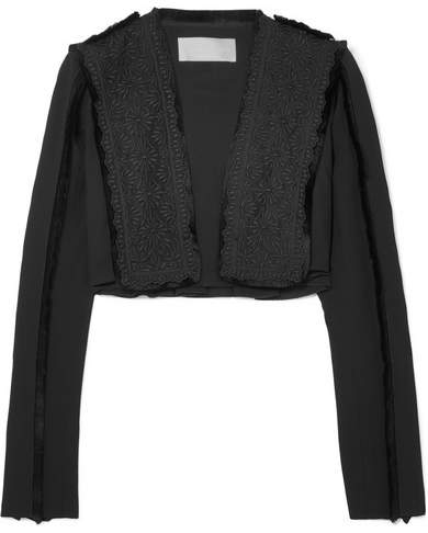 Antonio Berardi Cropped Fringed Broderie Anglaise And Crepe Jacket - Black