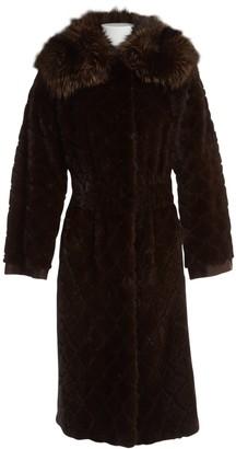 Saint Laurent Brown Fur Coat for Women
