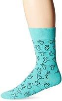 Happy Socks Men's 1pk Unisex Combed Cotton Crew-Blue Hello