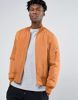 Asos Bomber Jacket in Orange with MA1 Pocket and Contrast Lining