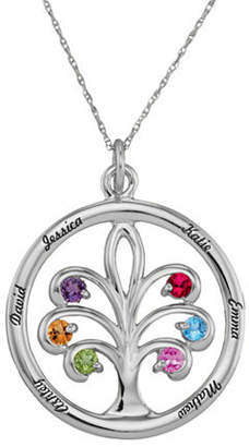 Personalized 10K Gold Family Tree Birthstone Pendant Necklace