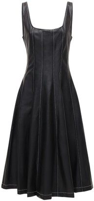 STAUD Wells Faux Leather Midi Dress
