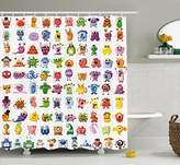Ambesonne Funny Decor Collection, Little Fictional Fantasy Cartoon Characters Fun Monsters Costumes Robots Toys Aliens Kids Theme, Polyester Fabric Bathroom Shower Curtain Set with Hooks, Multi