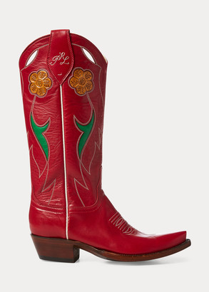 Ralph Lauren Selene Leather Cowboy Boot