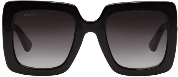 Gucci Black Oversized Rectangular Sunglasses