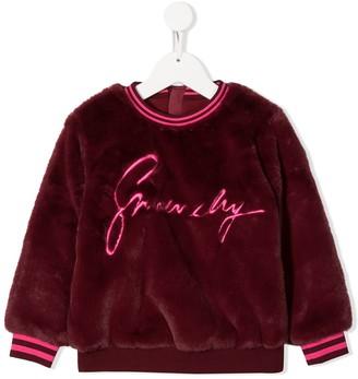 Givenchy Kids Faux-Fur Logo Jumper