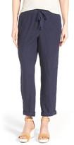 Caslon Linen Tie Front Crop Pants