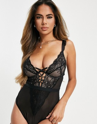 Figleaves Fuller Bust Savannah lace up mono-wire plunge bodysuit in black